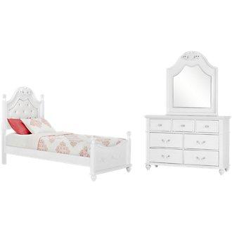 Alana White Upholstered Poster Bedroom