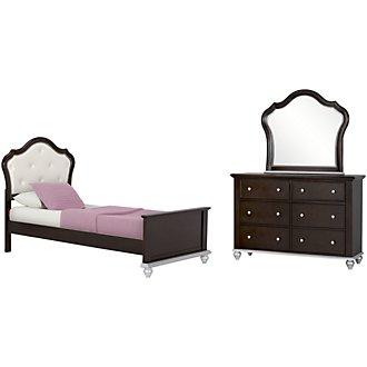 Emily Dark Tone Upholstered Panel Bedroom