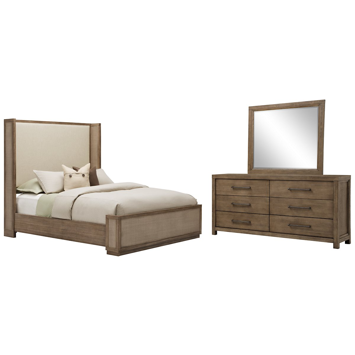 Mirabelle Light Tone Upholstered Shelter Bedroom