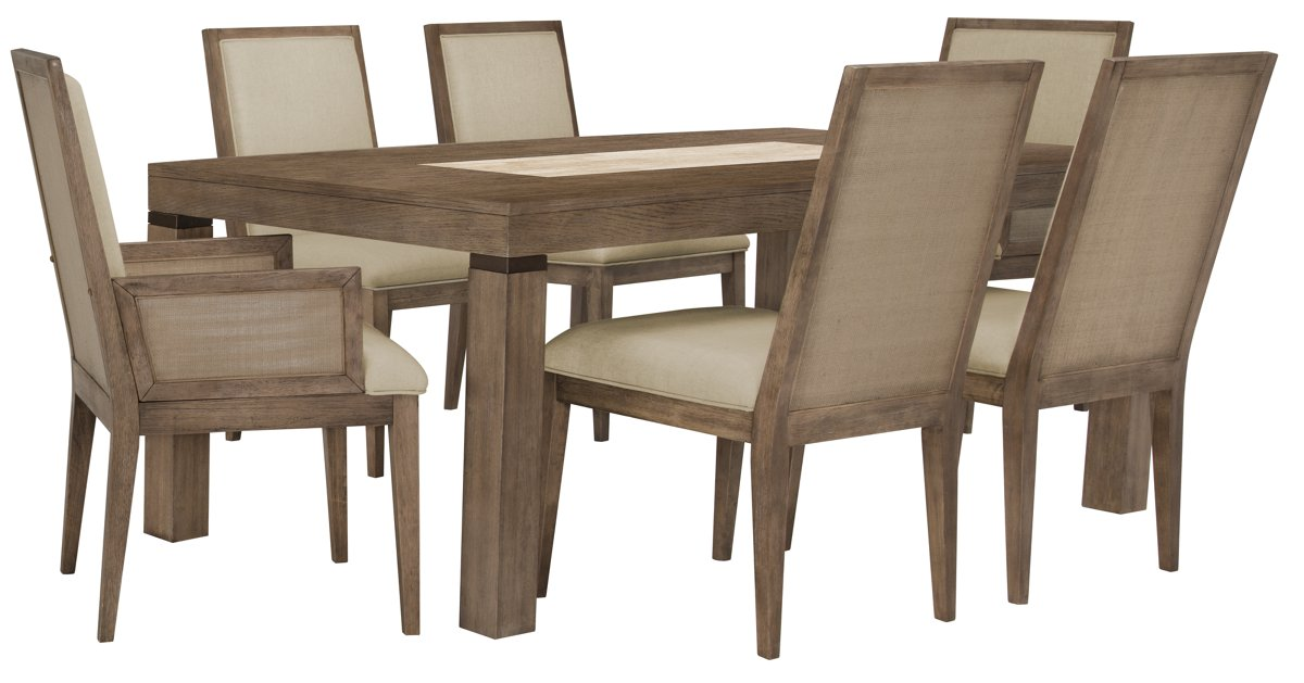 Mirabelle Light Tone Rect Table & 4 Upholstered Chairs