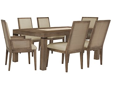 Mirabelle Light Tone Rectangular Table & 4 Upholstered Chairs