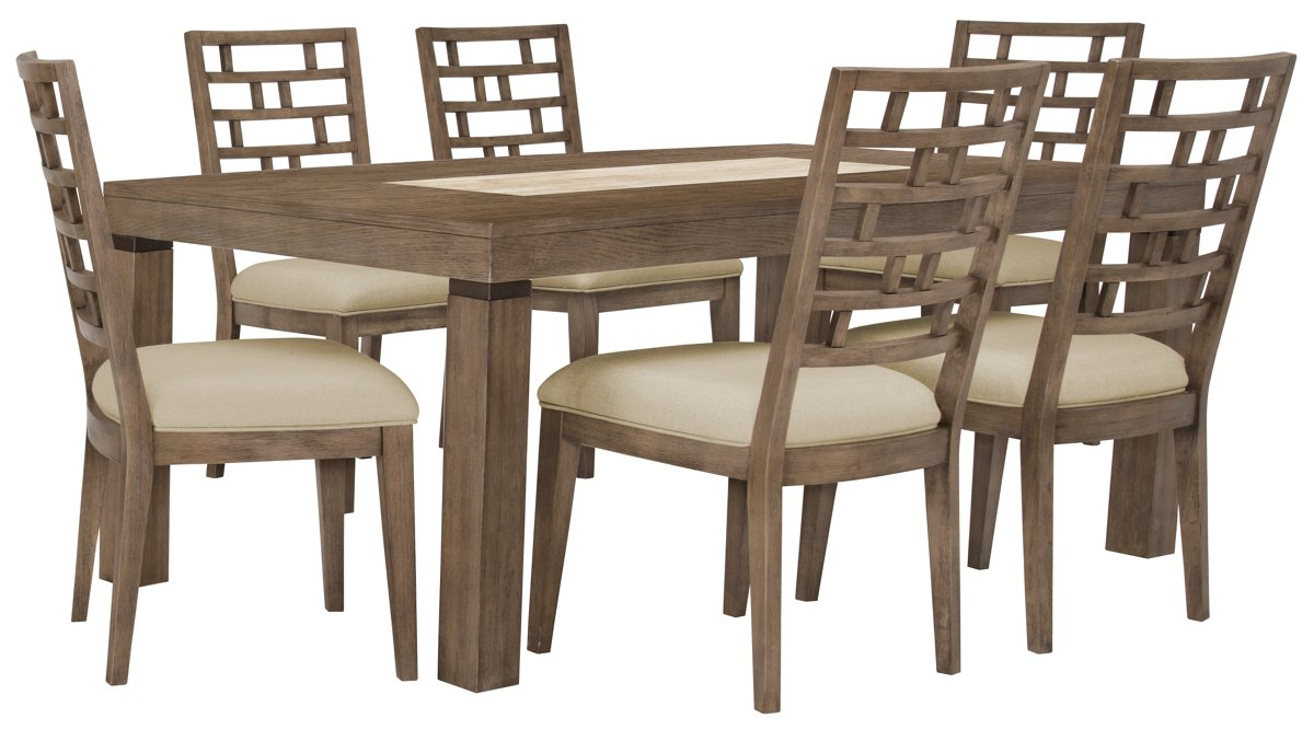 Mirabelle Light Tone Rect Table & 4 Wood Chairs