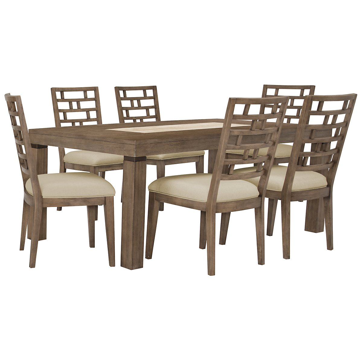Mirabelle Light Tone Wood Table & 4 Wood Chairs