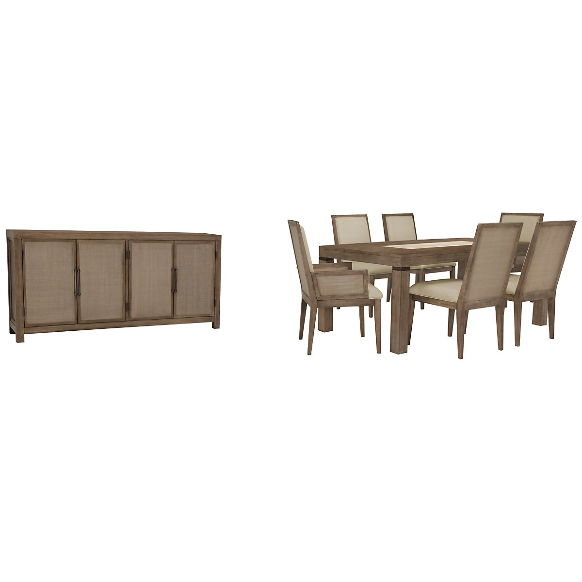 Mirabelle Light Tone Upholstered Rect Dining Room