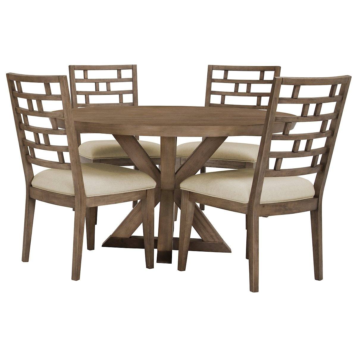 Mirabelle Light Tone Round Table & 4 Wood Chairs
