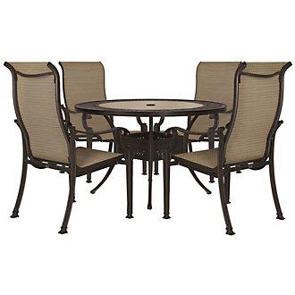 "Primera Dark Tone 54"" Round Table & 4 Sling Chairs"