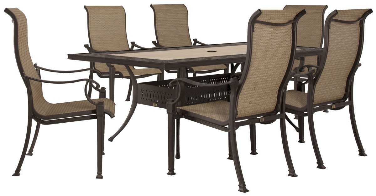 "Primera Dark Tone 84"" Rectangular Table & 4 Sling Chairs"