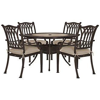 "Primera Dark Tone 54"" Round Table & 4 Cushioned Chairs"