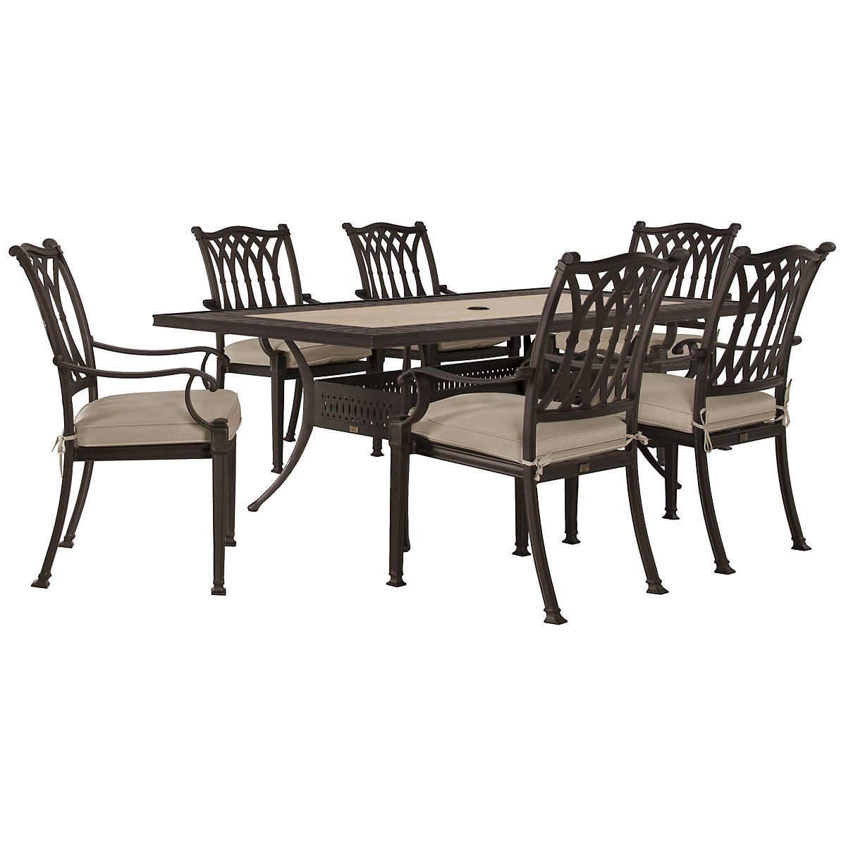 "Primera Dark Tone 84"" Rectangular Table & 4 Cushioned Chairs"