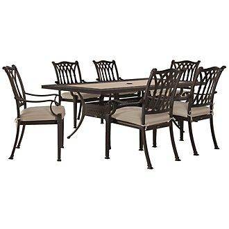 "Primera Dark Tone 84"" Rectangular Table & 4 Cushioned Chairs"