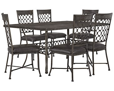 Brescello Dark Gray Rectangular Table & 4 Chairs