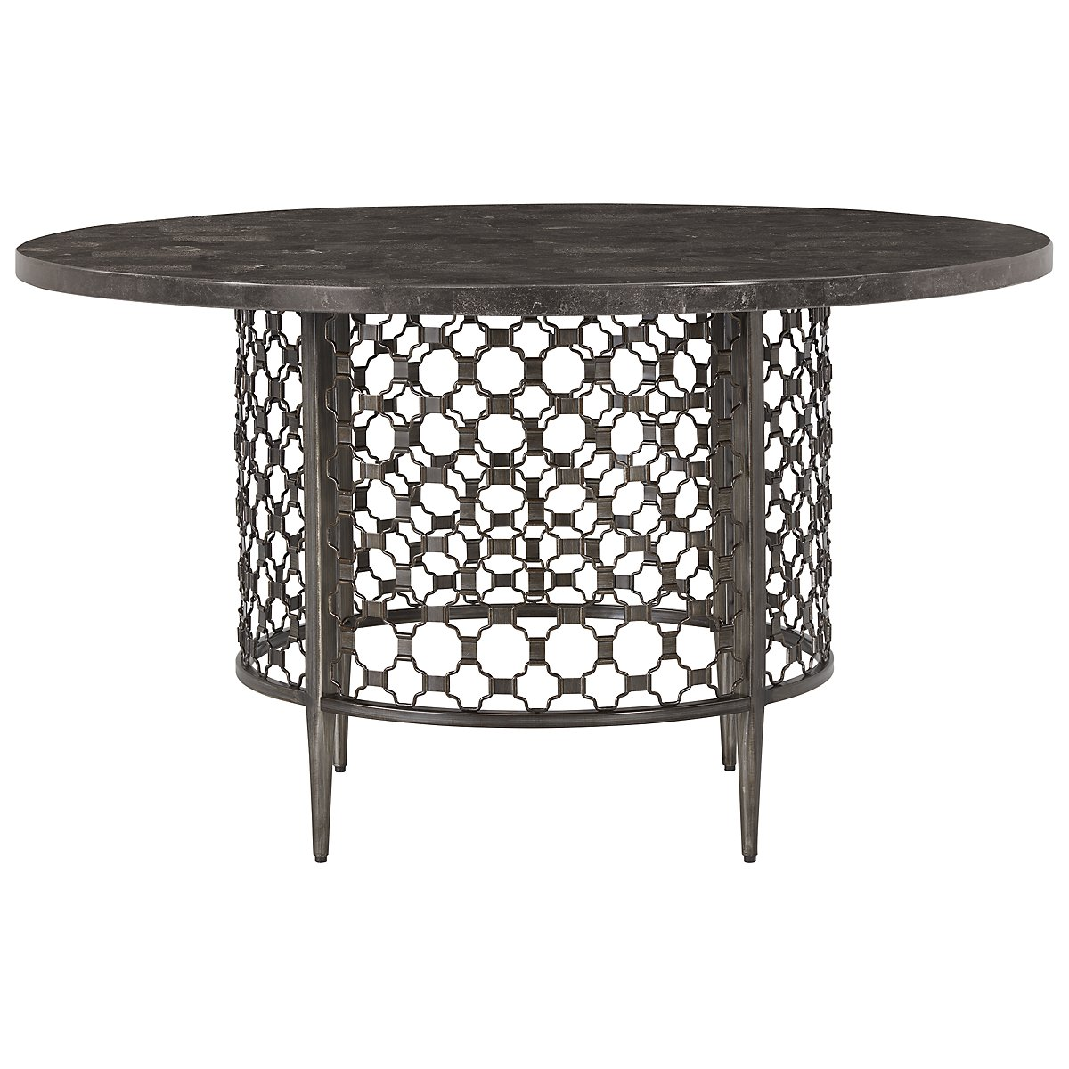 ashley round glass top steel dining table and dining chairs