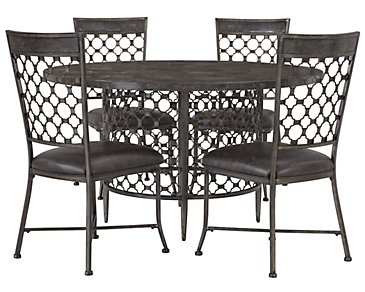 Brescello Dark Gray Round Table & 4 Chairs