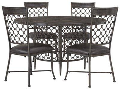 Brescello Dark Gray Round Table U0026 4 Chairs