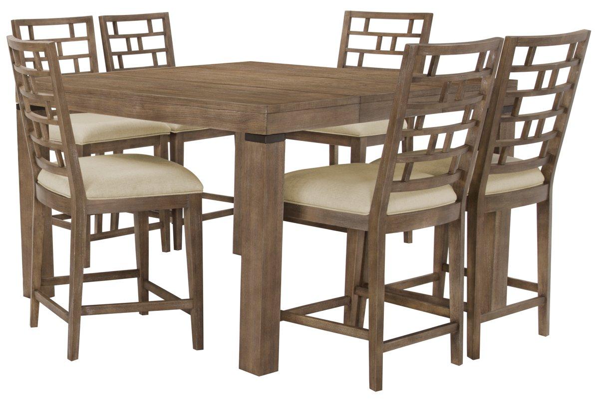 Mirabelle Light Tone Wood High Table & 4 Wood Barstools