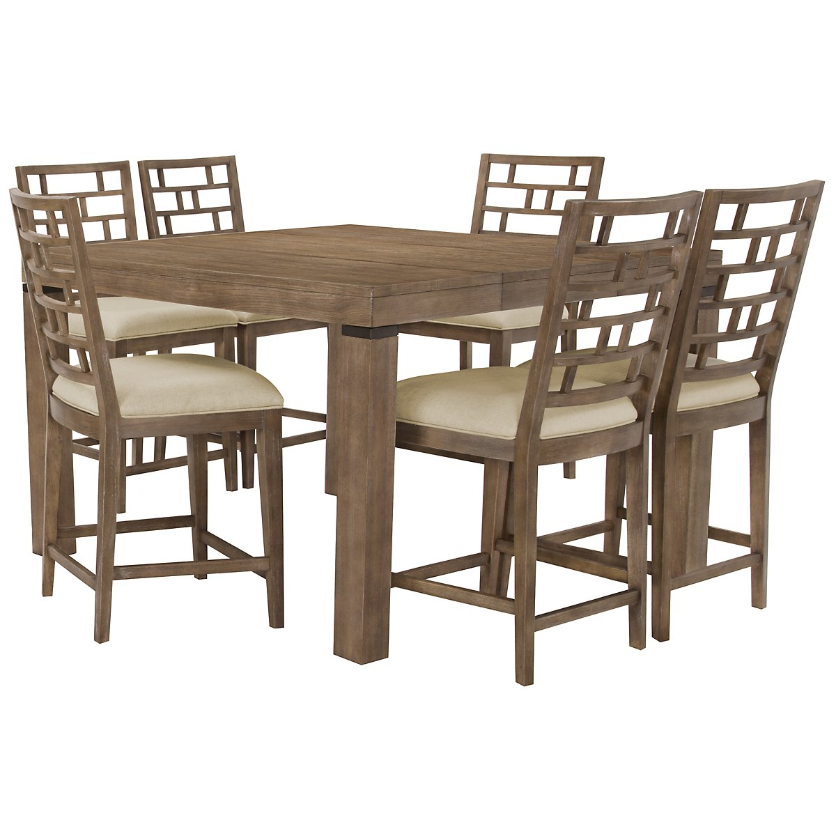 Mirabelle Light Tone High Table & 4 Wood Barstools