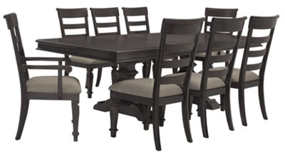 Emerson Gray Trestle Table & 4 Wood Chairs