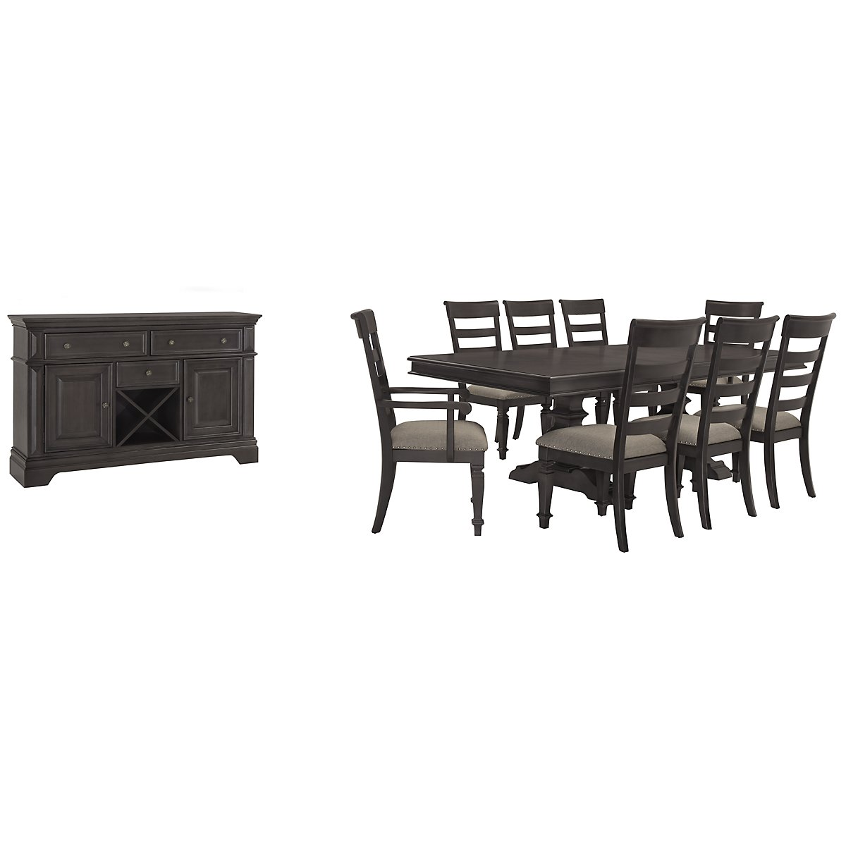 Emerson Gray Wood Trestle Dining Room