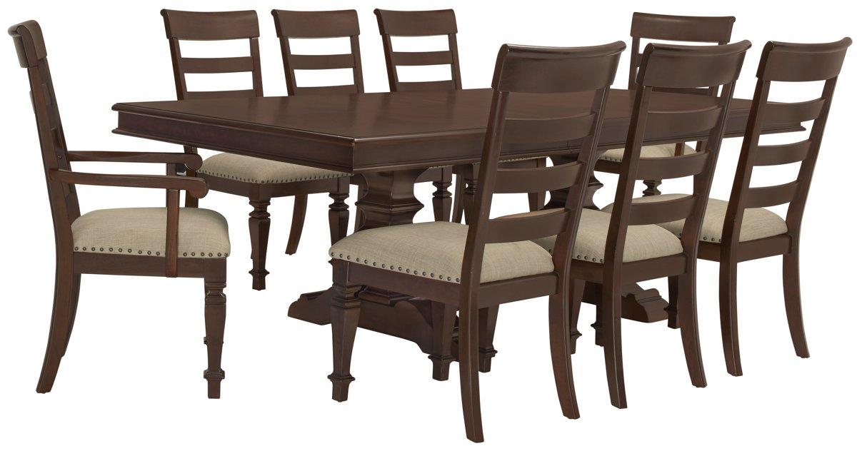 Emerson Dark Tone Trestle Table & 4 Wood Chairs