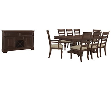 Emerson Dark Tone Trestle Dining Room