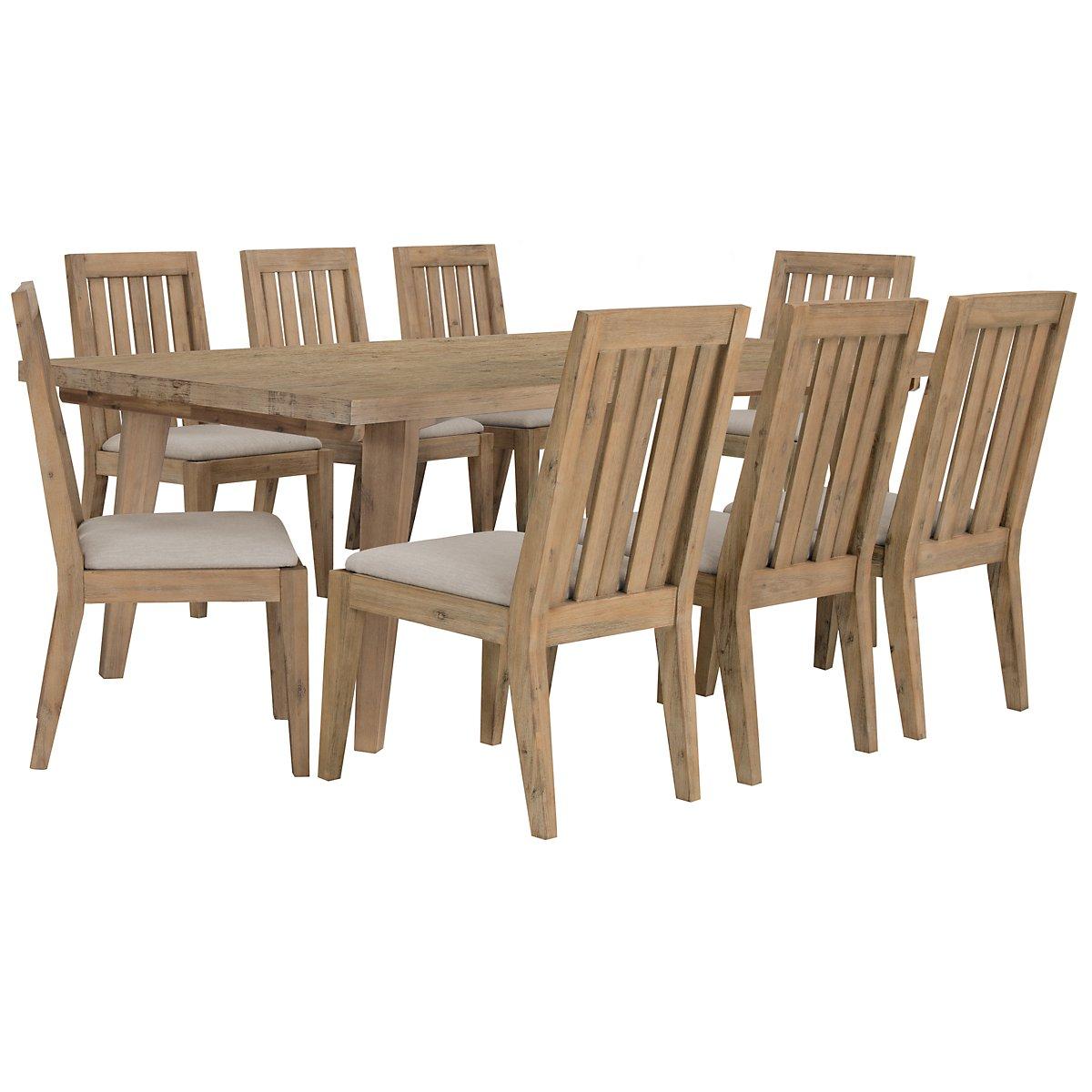 Casablanca Light Tone Rectangular Table & 4 Wood Chairs