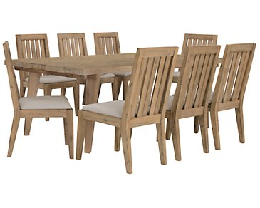 Casablanca Light Tone Rectangular Table & 4 Wood Chairs