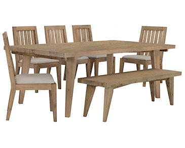 Casablanca Light Tone Rectangular Table, 4 Chairs & Bench