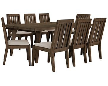 Casablanca Dark Tone Rectangular Table & 4 Wood Chairs