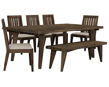 Casablanca Dark Tone Rectangular Table, 4 Chairs & Bench