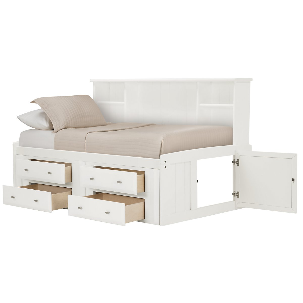 Laguna White Storage Bookcase Daybed
