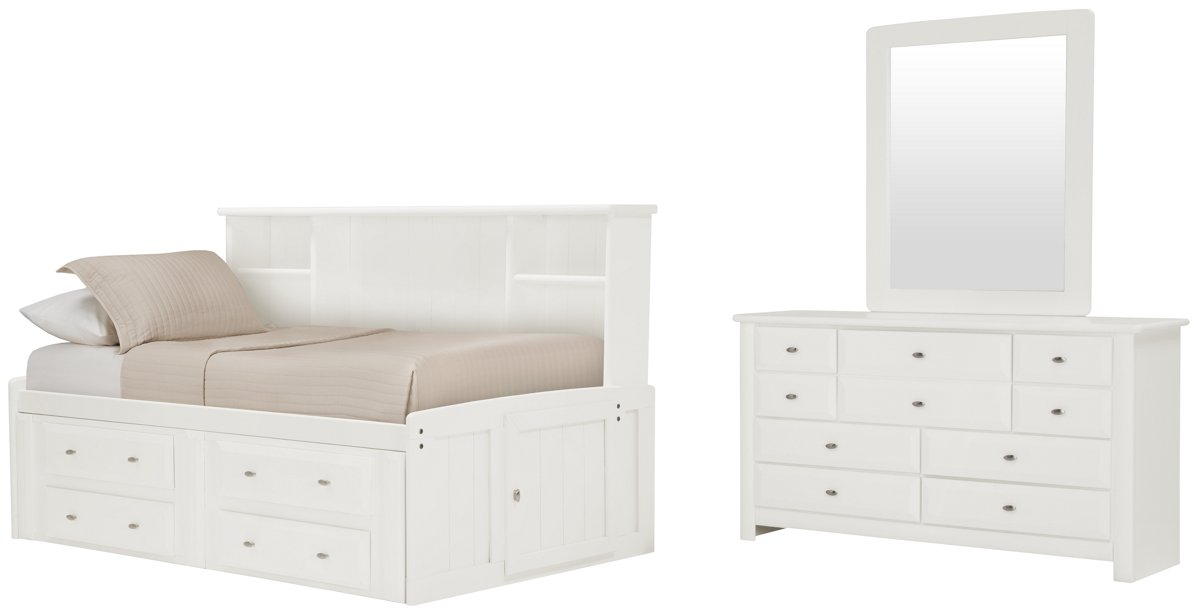White Daybed With Bookcase: City Furniture: Laguna White Bookcase Daybed Storage Bedroom