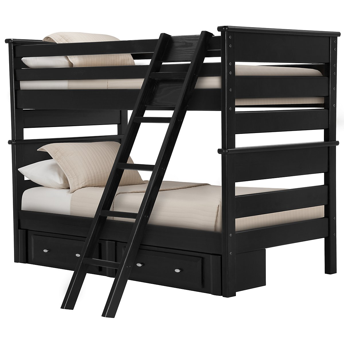 Laguna Black Wood Storage Bunk Bed