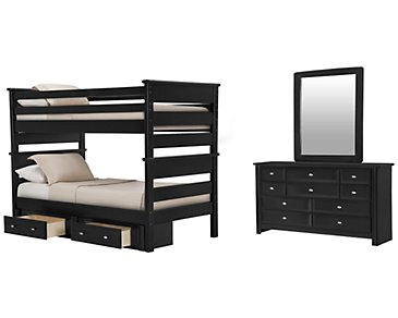 Laguna Black Bunk Bed Storage Bedroom