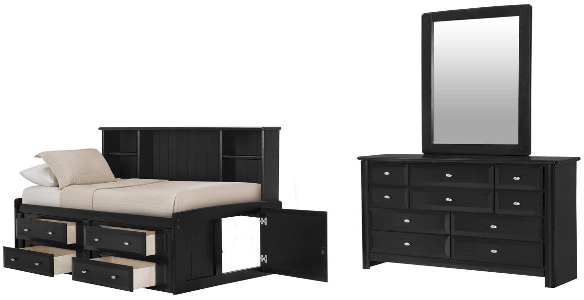 Laguna Black Wood Bookcase Daybed Storage Bedroom