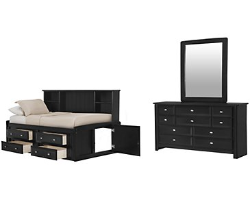 Laguna Black Bookcase Daybed Storage Bedroom