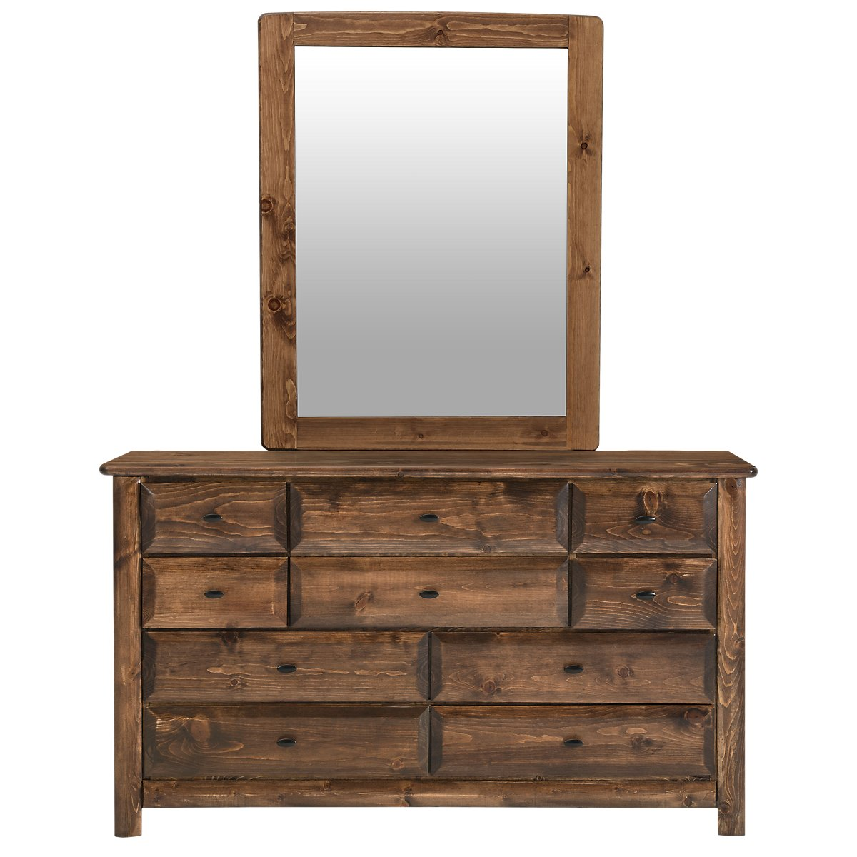 Laguna Dark Tone Wood Dresser & Mirror