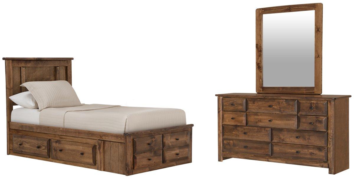 Laguna Dark Tone Wood Platform Storage Bedroom