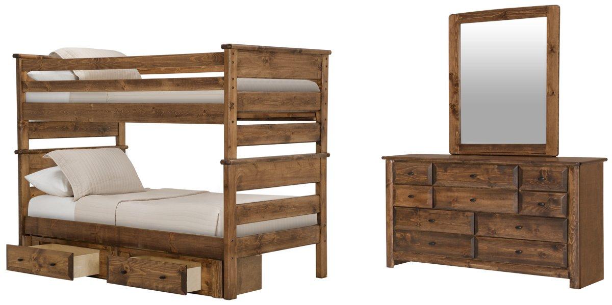 Laguna Dark Tone Wood Bunk Bed Storage Bedroom