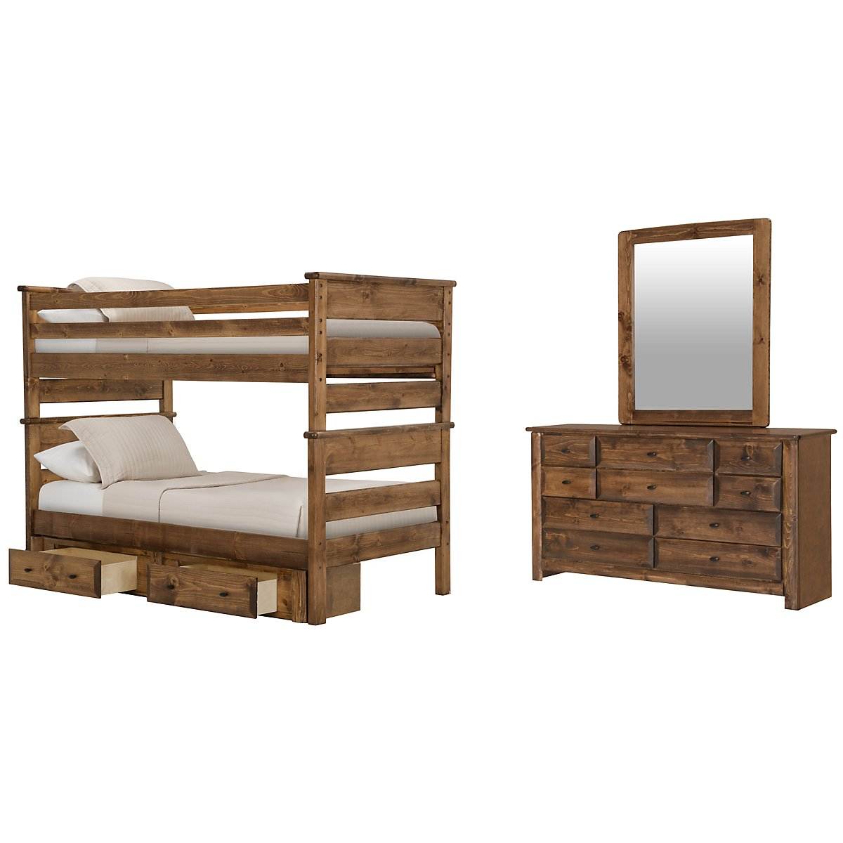 Laguna Dark Tone Wood Bunk Bed Storage Bedroom