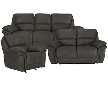 Kirsten Dark Gray Microfiber Power Reclining Living Room