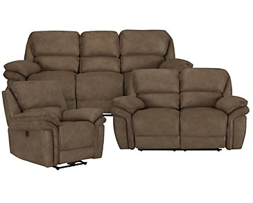 Kirsten Medium Brown Microfiber Power Reclining Living Room