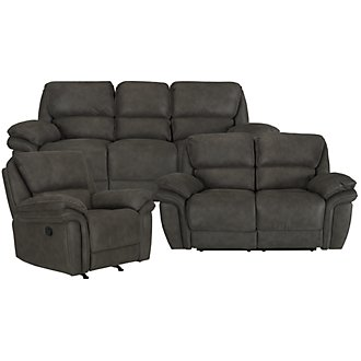 Kirsten Dark Gray Microfiber Manually Reclining Living Room