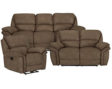 Kirsten Medium Brown Microfiber Manually Reclining Living Room
