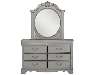 Jessica Silver Dresser & Mirror