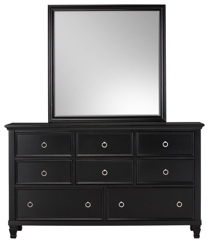 Tamara Black Wood Dresser & Mirror