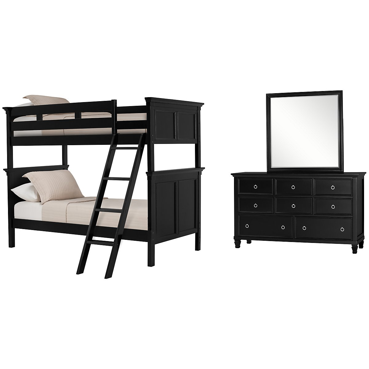 Tamara Black Wood Bunk Bed Bedroom