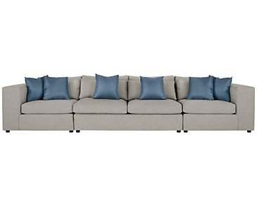 Como Gray Fabric Large Sofa