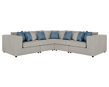 Como Gray Fabric Large Two-Arm Sectional