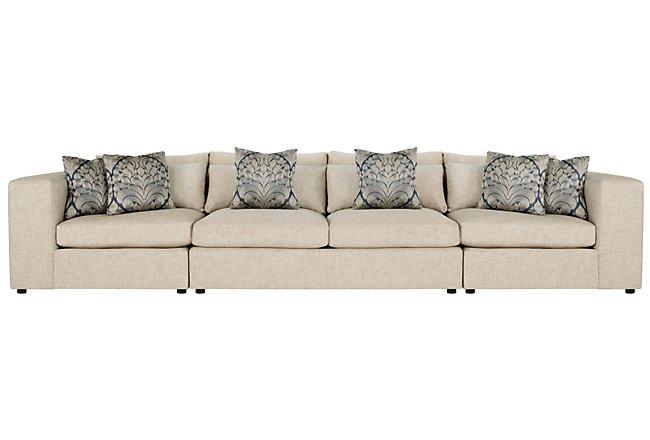 Como Khaki Fabric Large Sofa