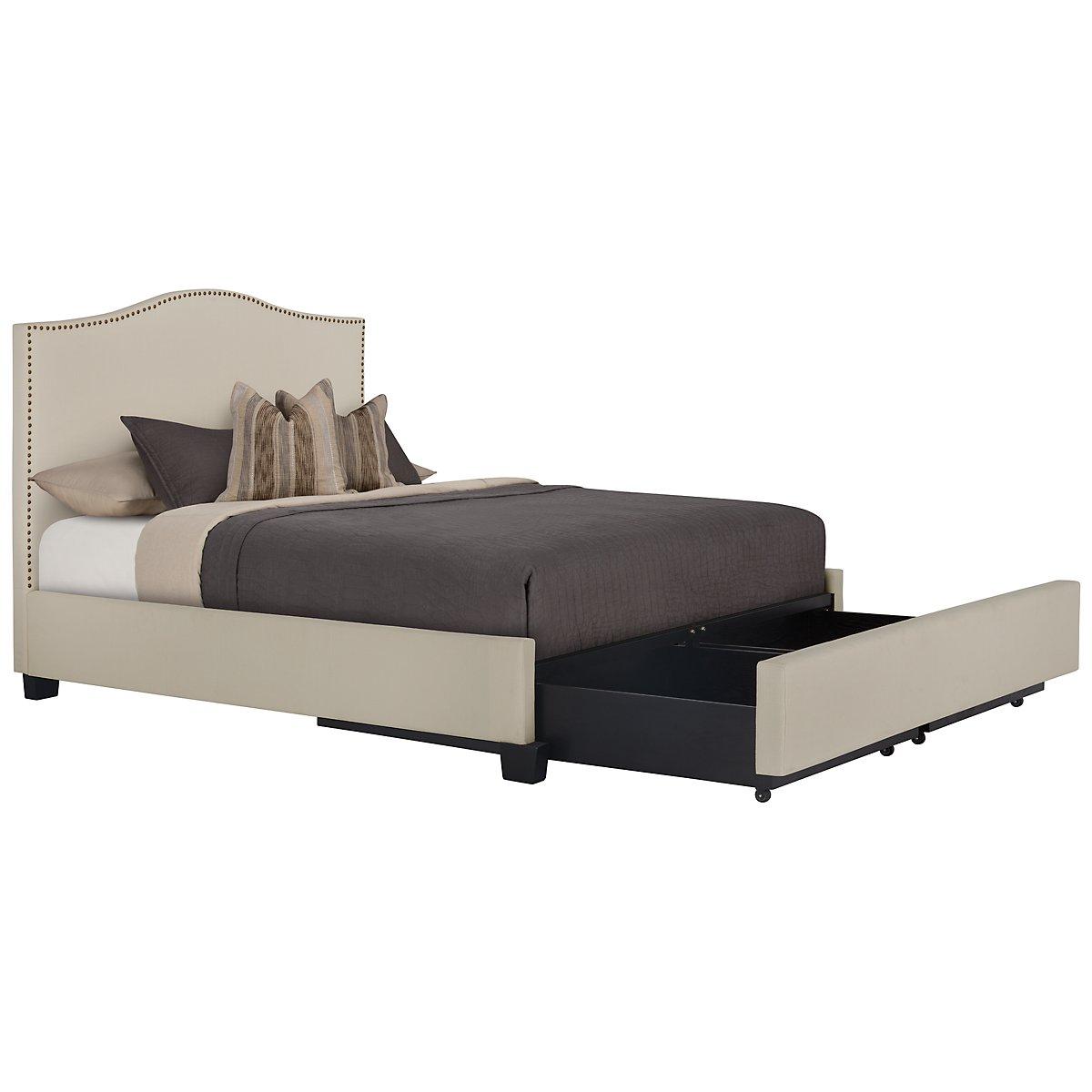 Dawson Beige Upholstered Platform Storage Bed